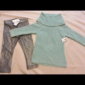 Sweater and Silver Leggings 2T Girls Outfit